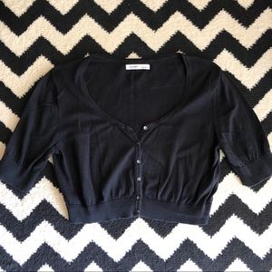 Cropped Black Cardigan